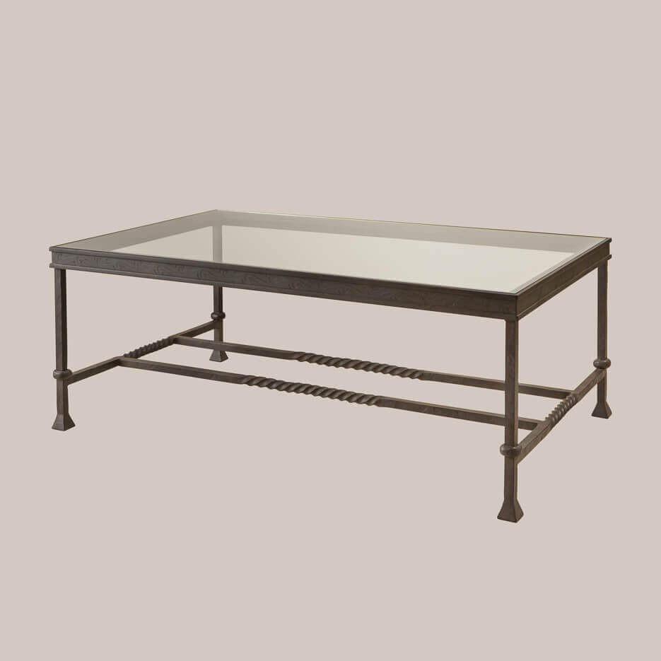 Iron glass rectangular coffee table you