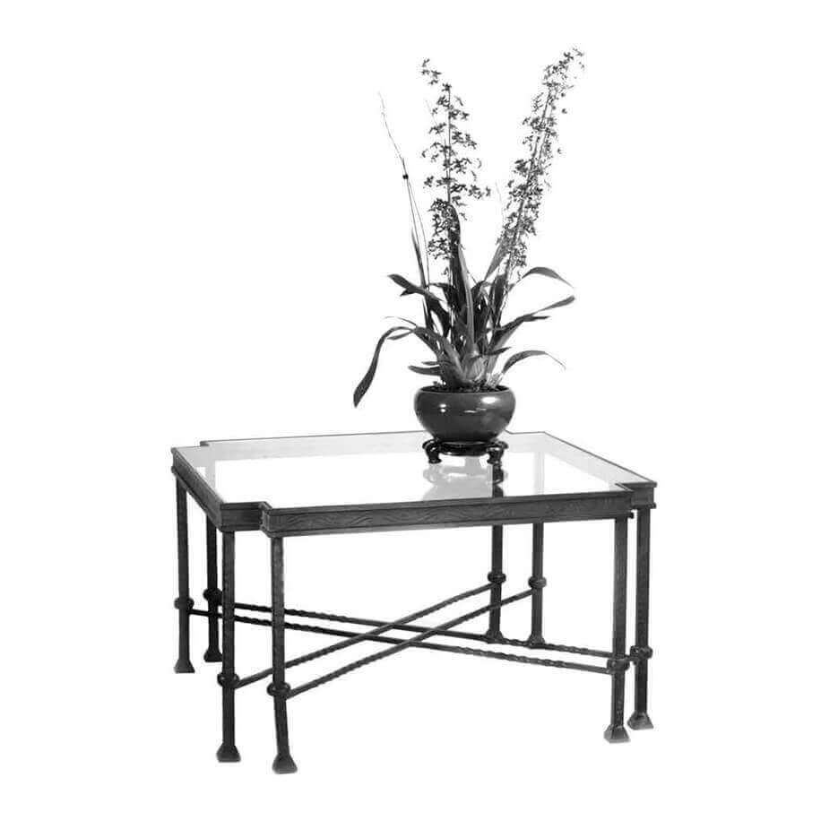 6052 Cut Corner Iron & Glass Coffee Table