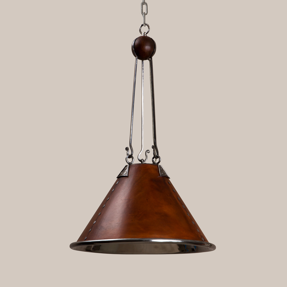 2038-L Polished Steel & Leather Theo Hanging Fixture