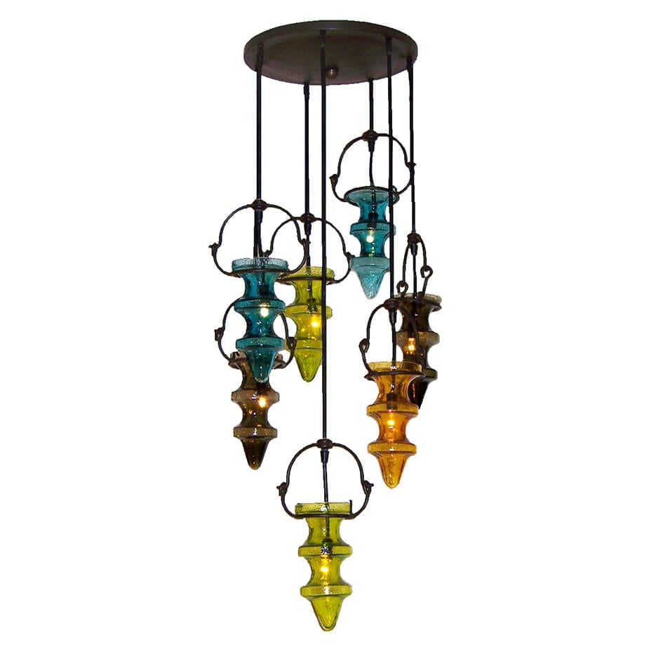 2136 Colored Glass Hanging Fixture