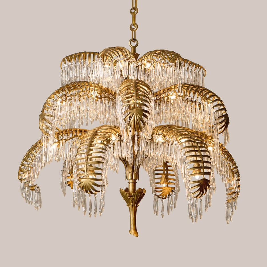 L Crystal Palm Leaf Chandelier Paul Ferrante - Chandelier leaves crystals