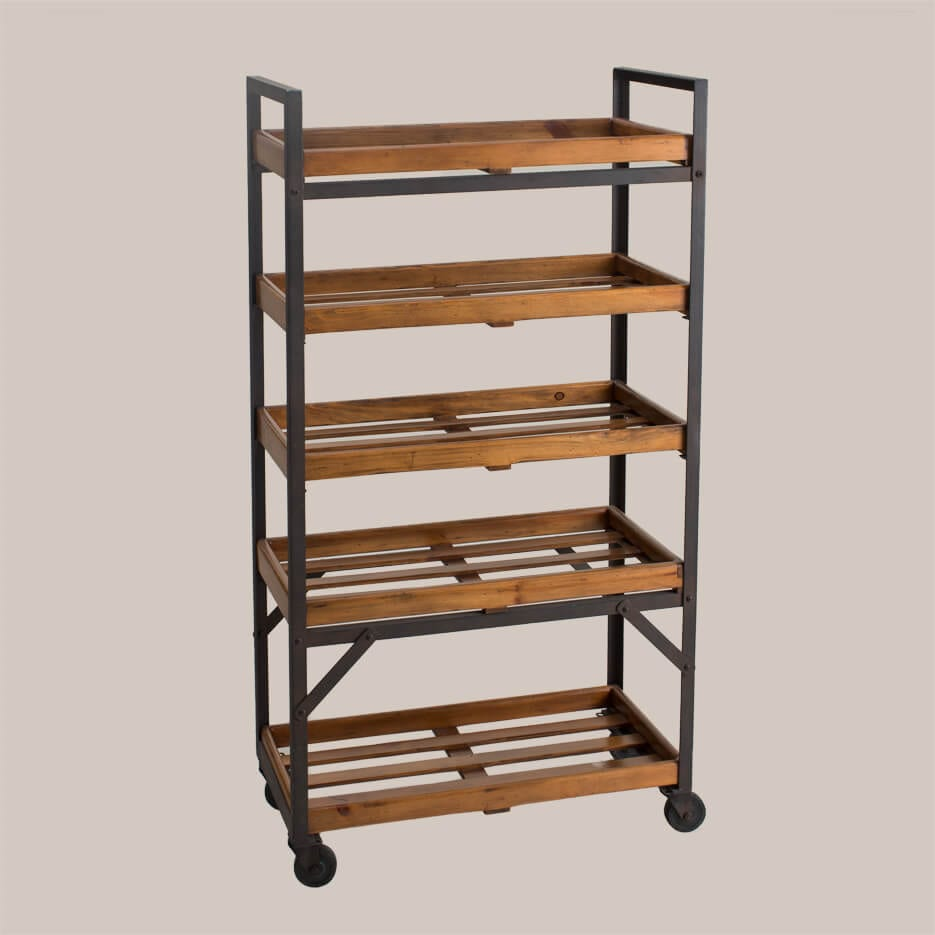 6122 Iron & Wood Rolling Cart