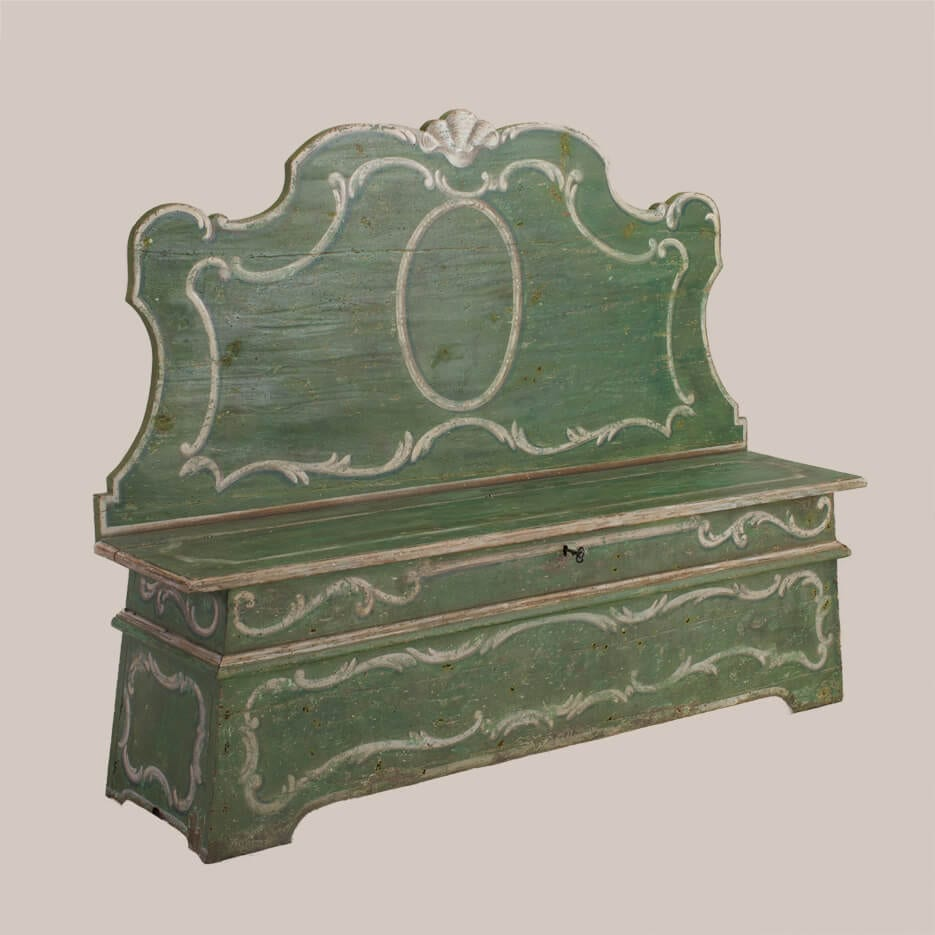 6176 Green Painted Bench